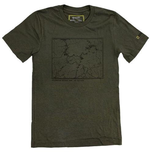 Image of National Geographic Yellowstone Topographical Map T-shirt