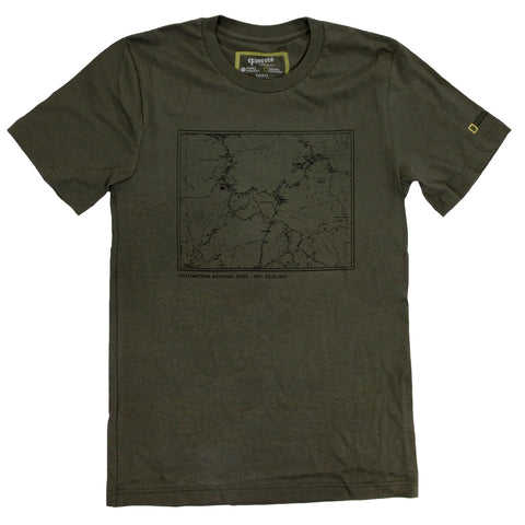 National Geographic Yellowstone Topographical Map T-shirt