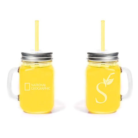 National Geographic Simply Straws Mason Mug Combo