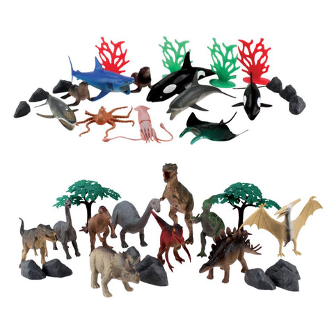 Forty-Piece Wenno Dinosaur and Ocean Animal Playset Window Box from National Geographic