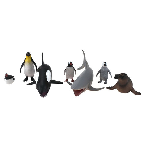 Seven-Piece Wenno Ocean Animal Figurine Set from National Geographic, with Orca, Shark, Sea Lion, Penguins