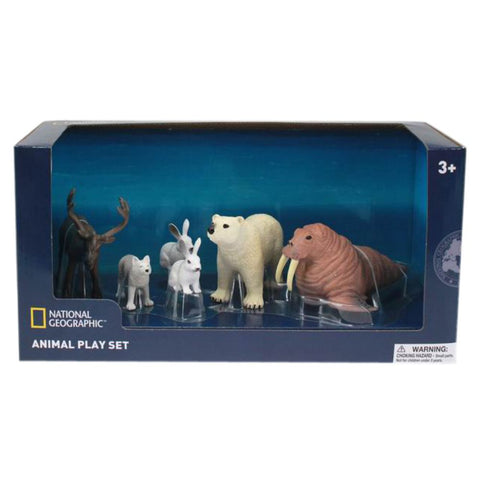 Six-Piece Wenno Ocean Animal Figurine Set from National Geographic, with Reindeer, Arctic Fox, Arctic Hare, Polar Bear, and Walr