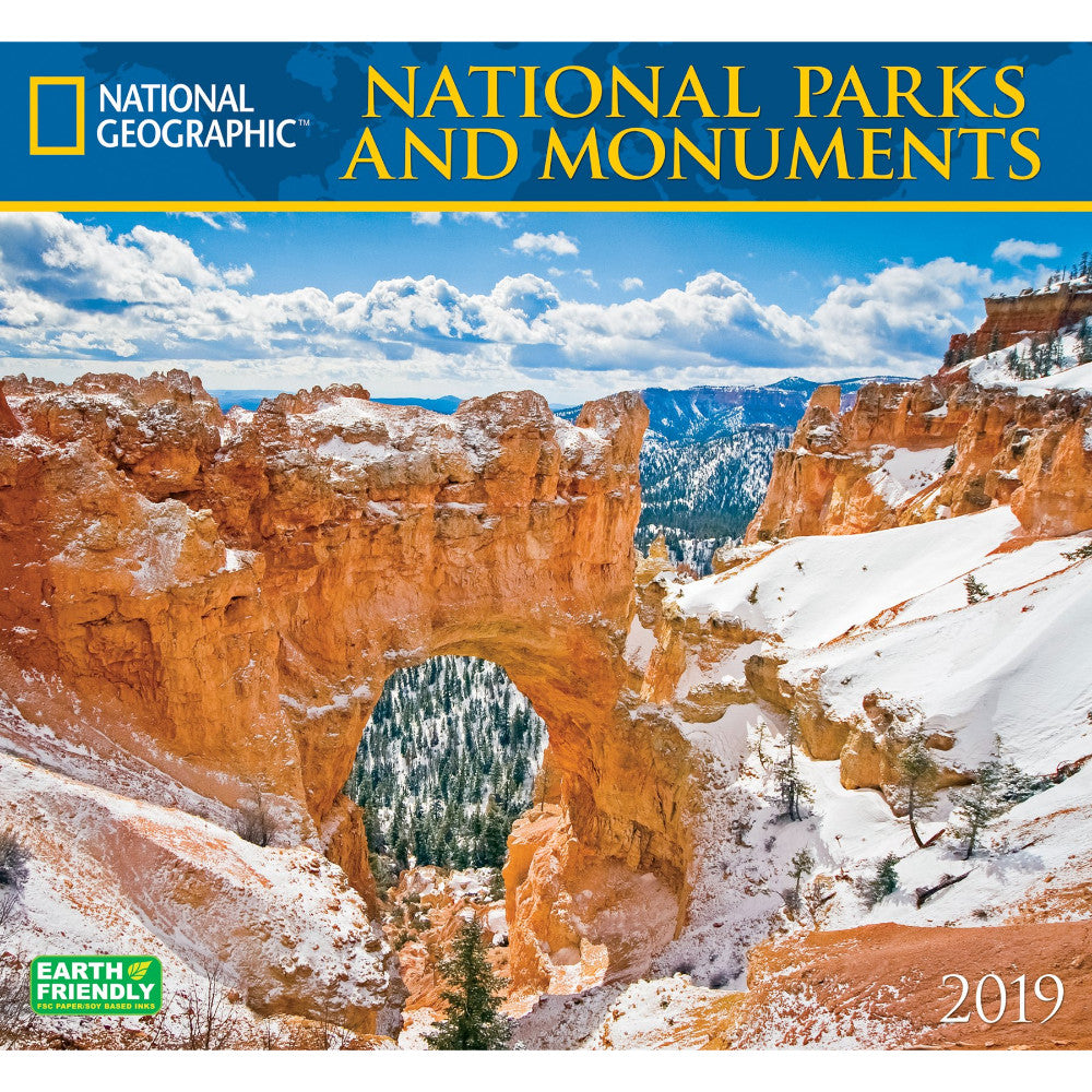 national geographic national parks monuments 2019 wall calendar