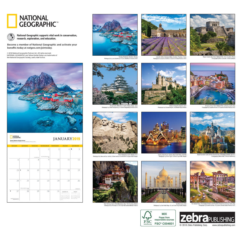 0b99dc8a821f National Geographic World Travel 2019 Calendar