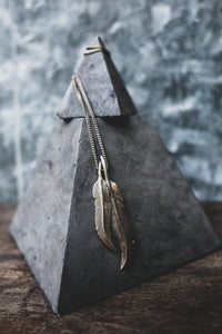 DUAL SCRIBE'S QUILL & CHAIN FEATHER PENDANT NECKLACE