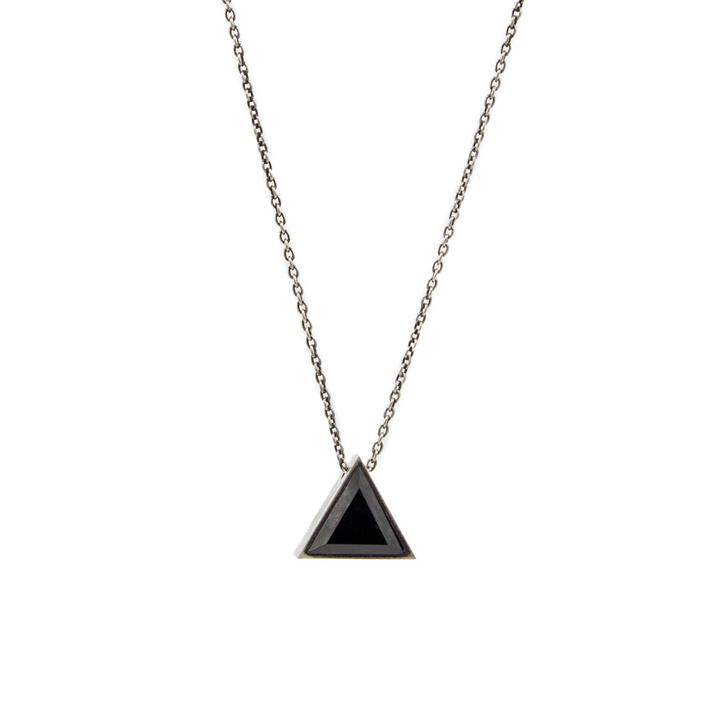 BLACK ONYX/TIGER EYE SMALL TRIANGLE GEO LOCKET