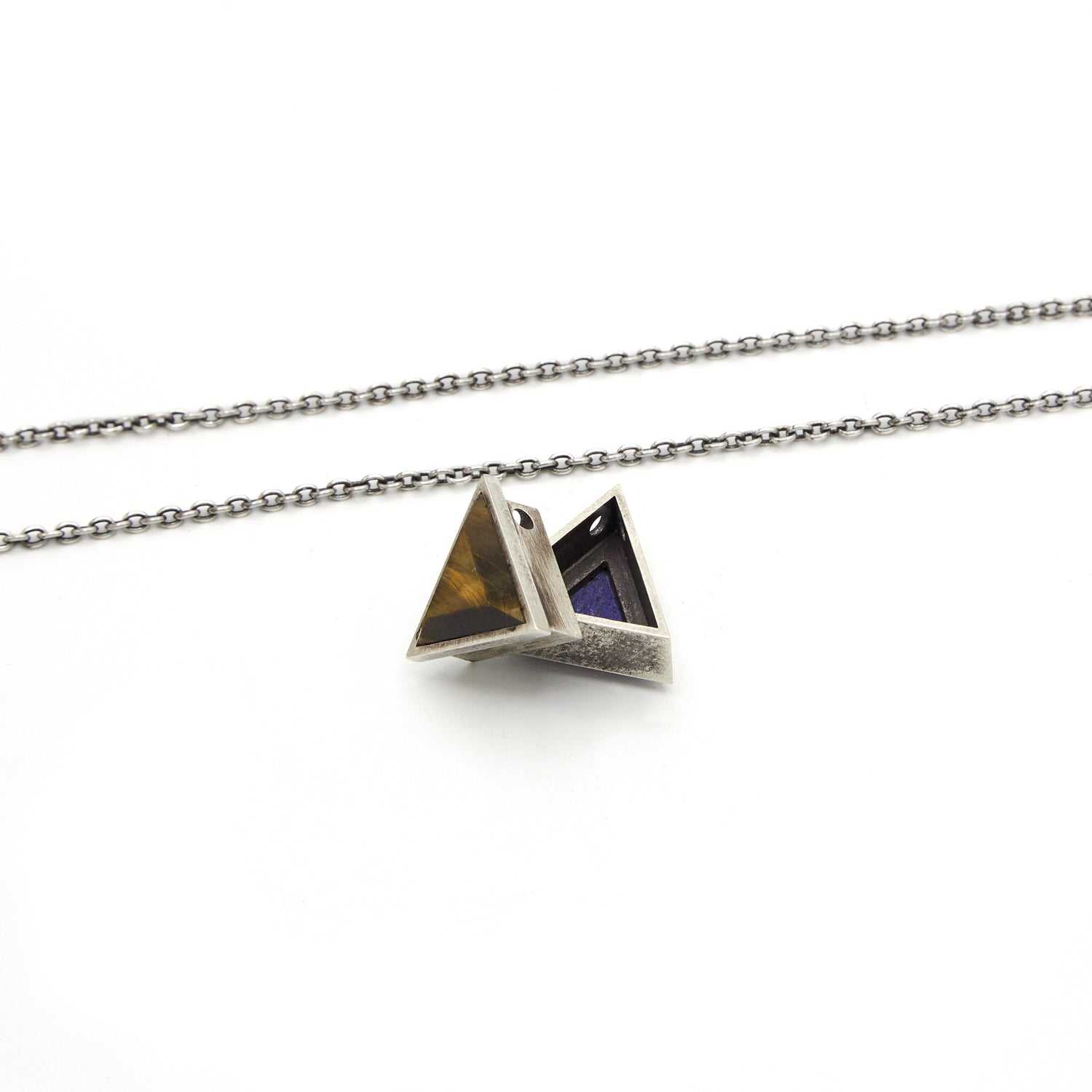 LAPIS/TIGER EYE SMALL TRIANGLE GEO LOCKET