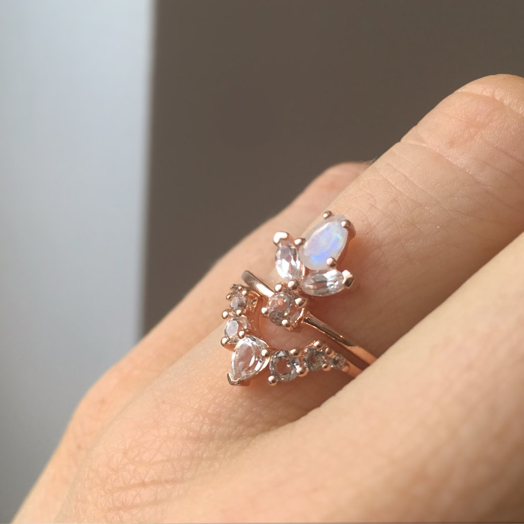 ROSE GOLD WHITE TOPAZ ANGELS ARC RING