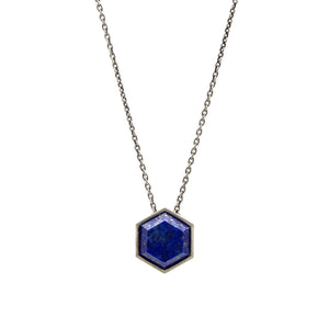 LAPIS/LABRADORITE SMALL HEXAGON GEO LOCKET