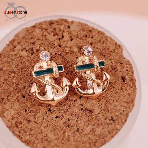 Fashion Women Crystal Rhinestone Sailor Anchor Earrings