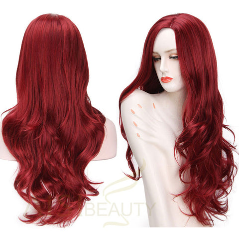 26inch Long Wave Natural Red Color Synthetic Hair