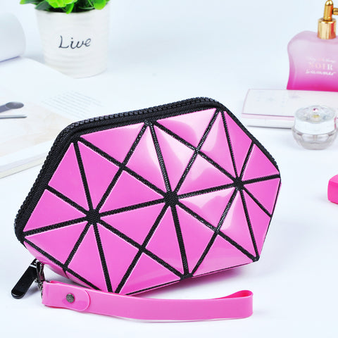 Women Fashion Geometric Zipper Cosmetic Bag
