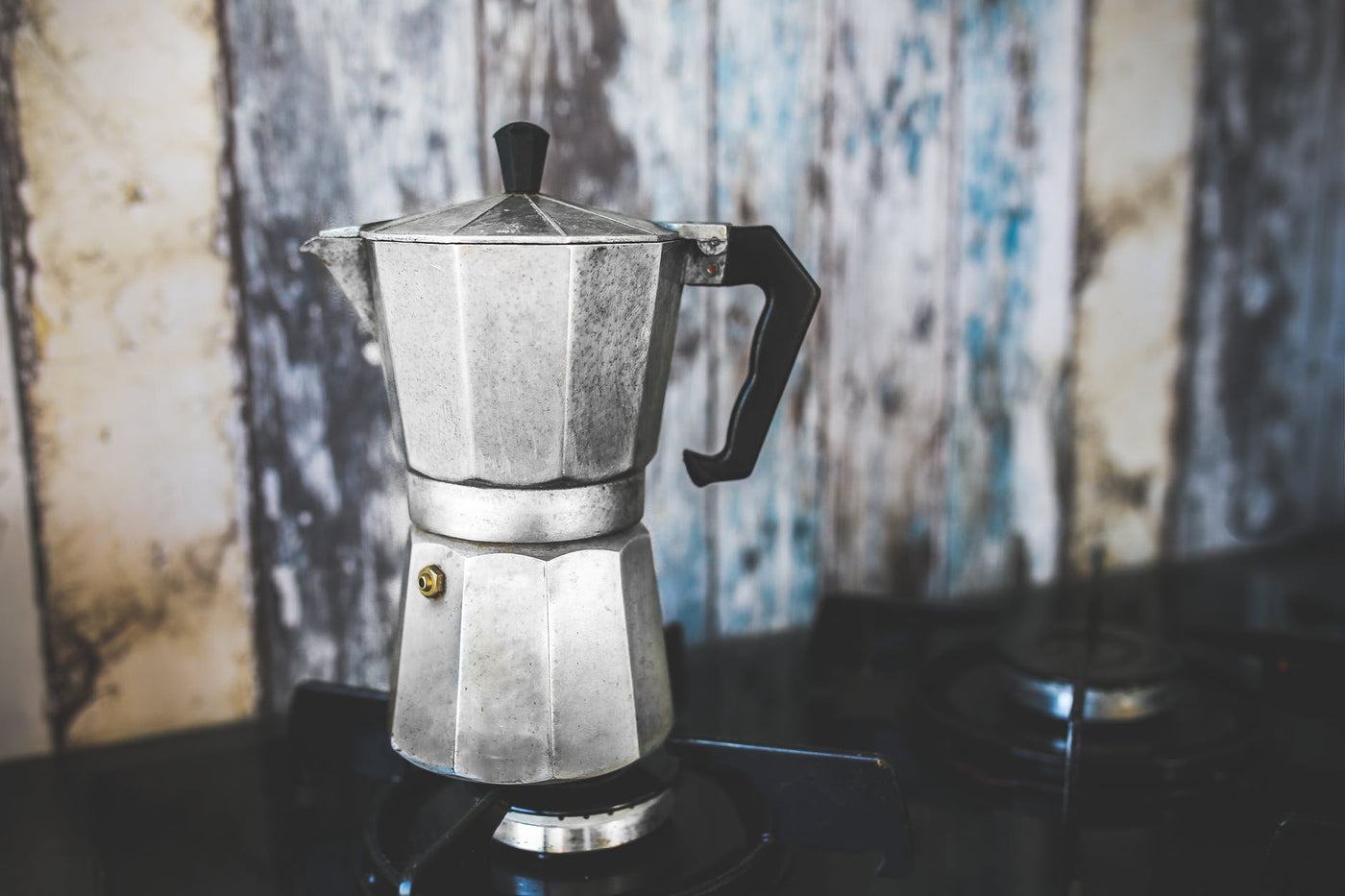picture of a well-used moka pot coffee maker