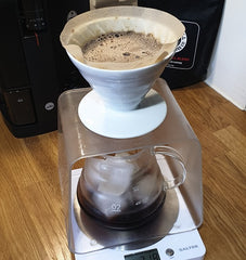 japanese iced coffee recipe made using hario V60. 30g of coffee, 200g of ice in a jug and 300ml of hot water.