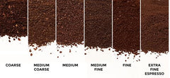Different types of coffee grind, from extra fine to extra coarse. This guide helps you brew better, stronger coffee