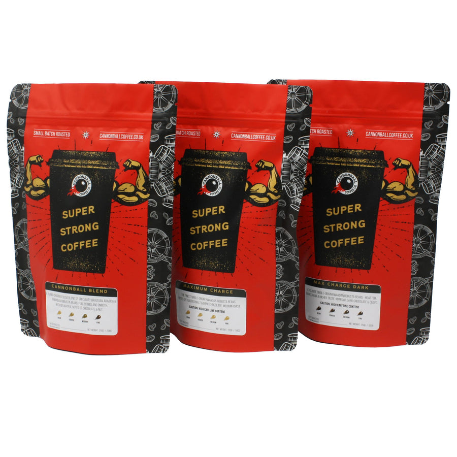 Full Bore Bundle - 3 x 250g bags of coffee, 1 of each of our 3 best-sellers. The bags are lined up next to each other, all feature a bright red background with a black coffee cup with biceps bursting out of it, and 'super strong coffee' written on the cup