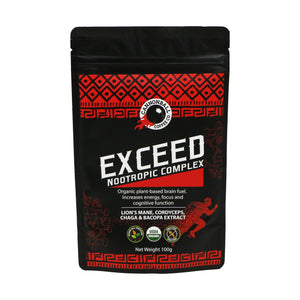 Front of a packet of Exceed Nootropic by Cannonball Coffee. Red images on a black background. Contains Lion's mane, chaga, cordyceps, bacopa.