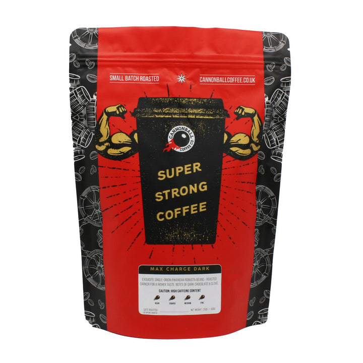 Front of a bag of Cannonball Coffee. The bag has a bright red background. In the centre is a black coffee cup with biceps bursting out of the sides. The cup says 'Super Strong Coffee' on it.  There is a small sticker with Max Charge Dark and boxes for the grind type.