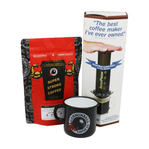 aeropress coffee maker gift set, with enamel camping mug and 250g of cannonball coffee