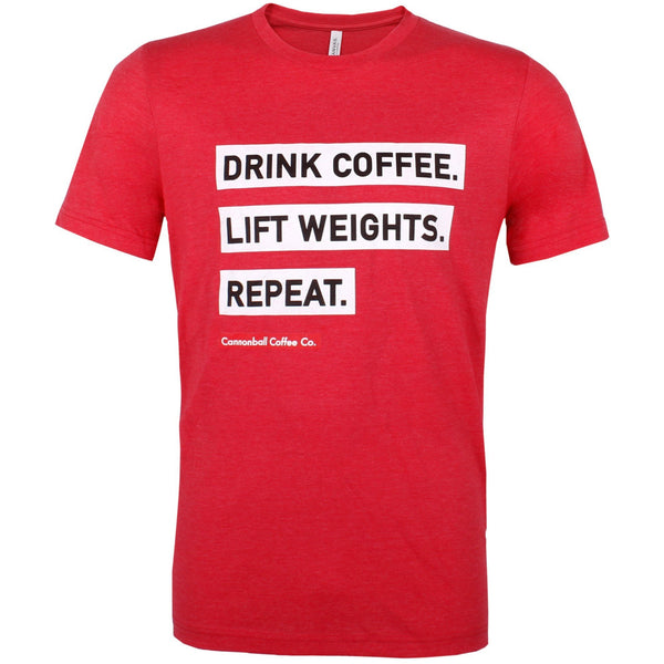 Drink Coffee, Lift Weights, Repeat T-Shirt (Red)