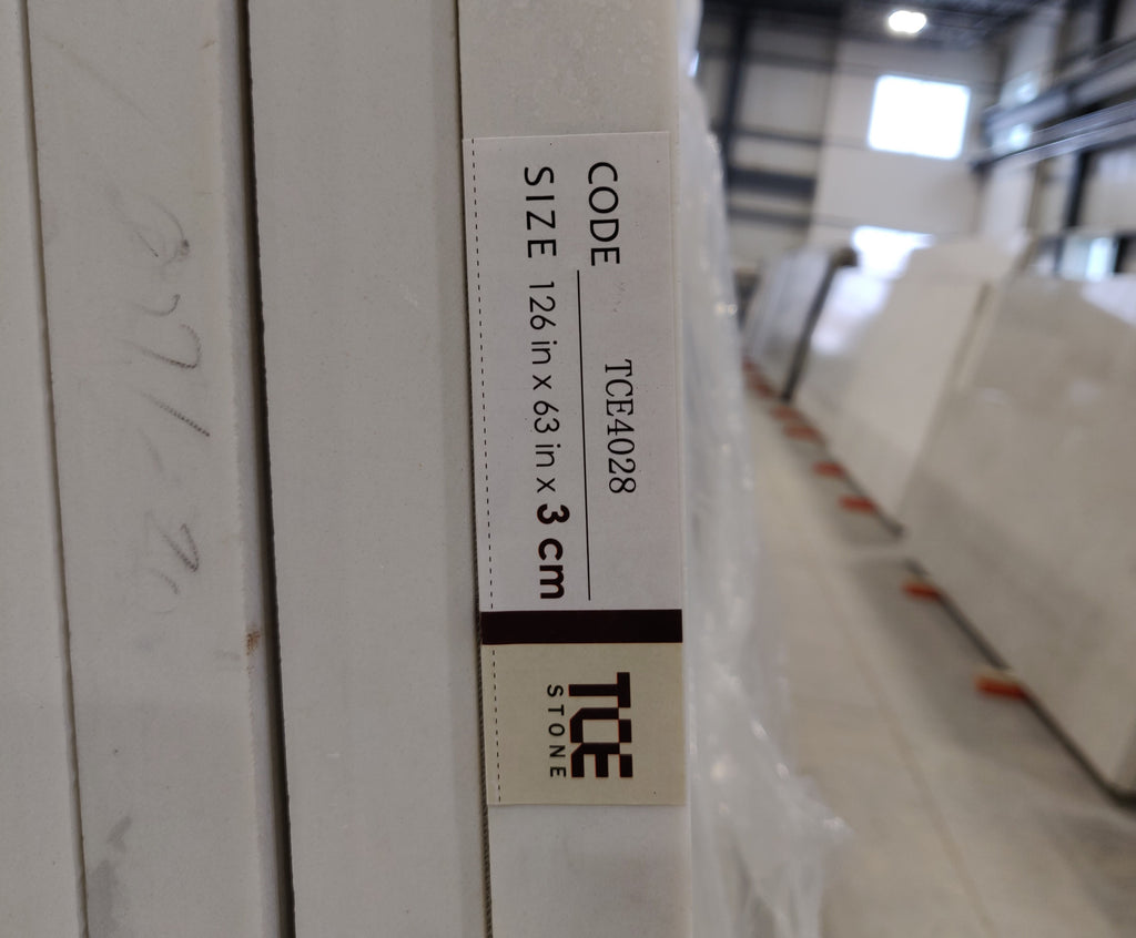 Code on the side of TCE Stone quartz slab