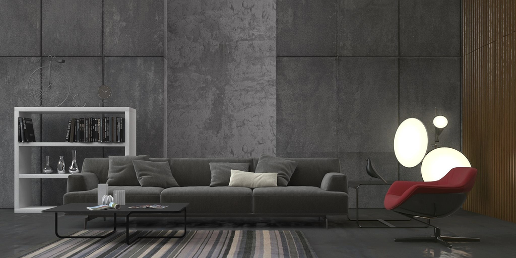 minimalist grey living room design