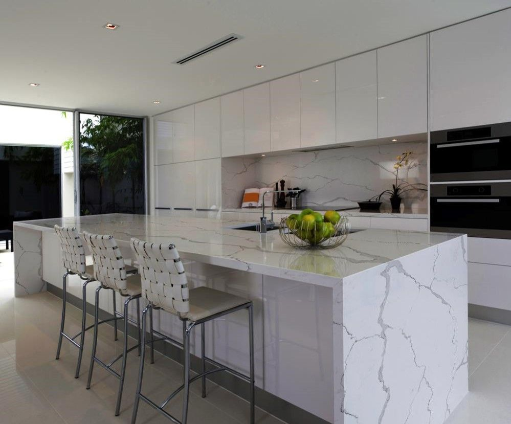 Quartz waterfall and backsplash