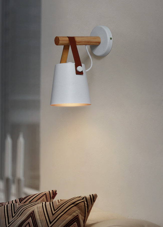 Nordic Wood & Leather Sconce