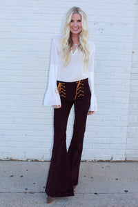 Corduroy Lace Up Flares