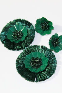 Earrings - Green Flowers