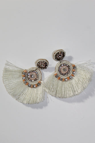 Earrings - White and Rhinestones