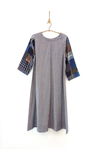 Handwoven dress with 'Boro' sleeves