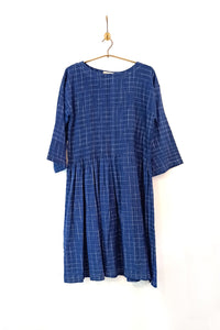 Ikat dress with pin tuck