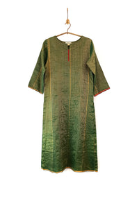 Woven-gold striped kurta (Emerald)