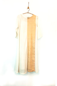 Woven gold block dress (Ivory)