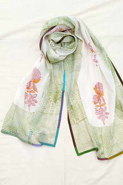 Grid block print stole with Rose
