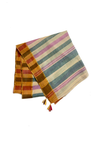 Handwoven striped cotton saree