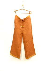 Linen pajama pants in carrot