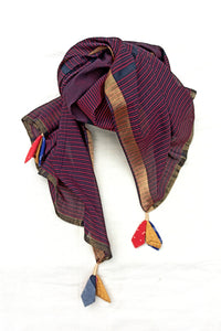 Rekha striped stole in black red
