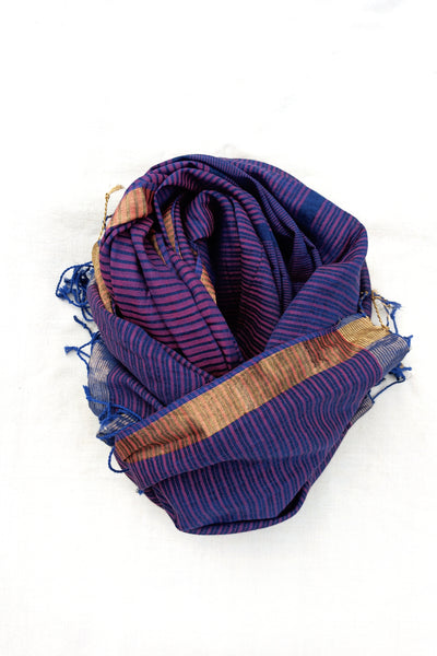 Rekha striped stole in indigo red