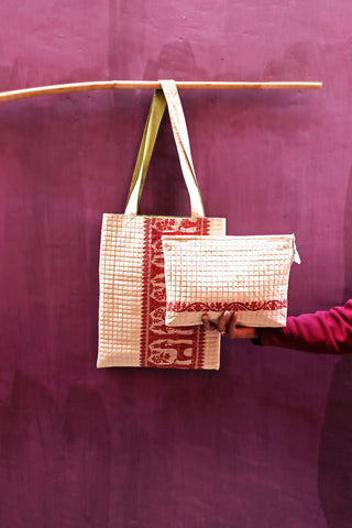 Baluchari Jhola tote + Zipper bag (set of 2)