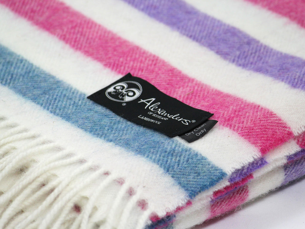 Striped Lambswool Herringbone Blanket - Blue/Carnation/Purple