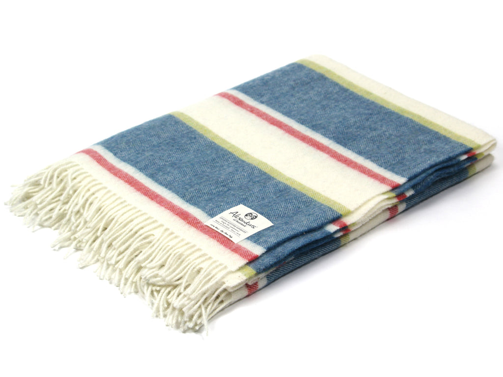 Striped Lambswool Herringbone Blanket - Blue/Red/Green