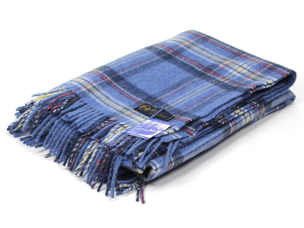 Traditional Weight Woollen Blanket - Blue Toon Tartan