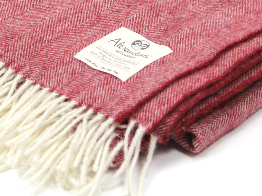 Lambswool Herringbone Blanket - Bordeaux Mix