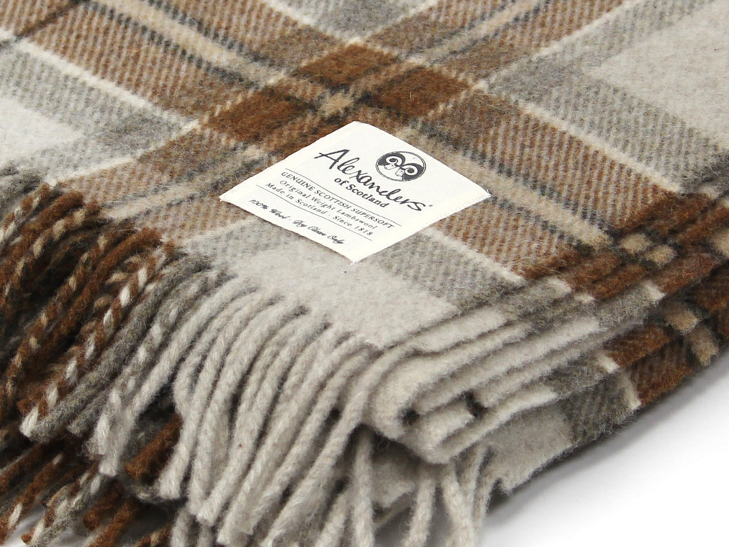 Traditional Weight Woollen Blanket - Beige Plaid