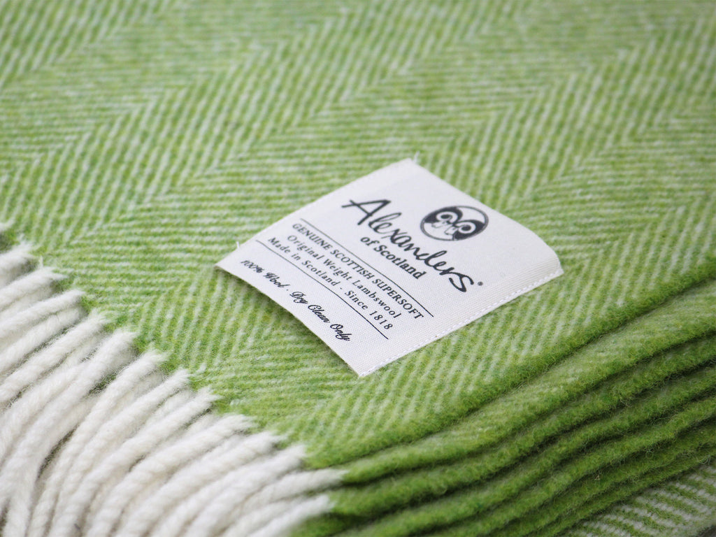 Traditional Weight Woollen Blanket - Calypso Herringbone