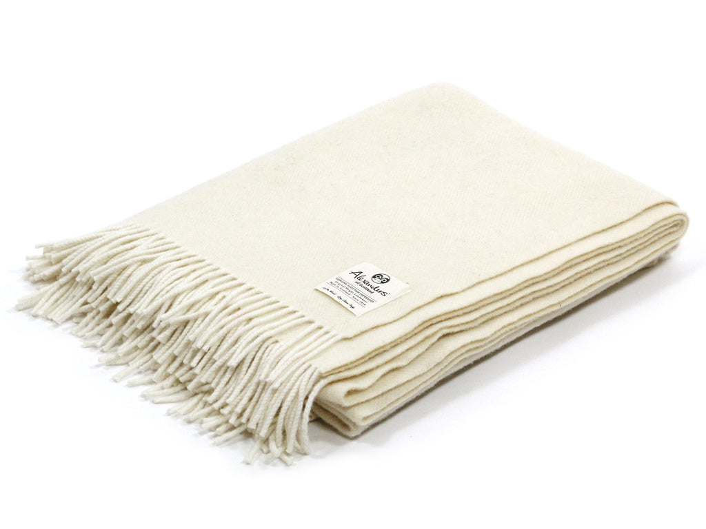Traditional Weight Woollen Blanket - Ecru/Cream Herringbone