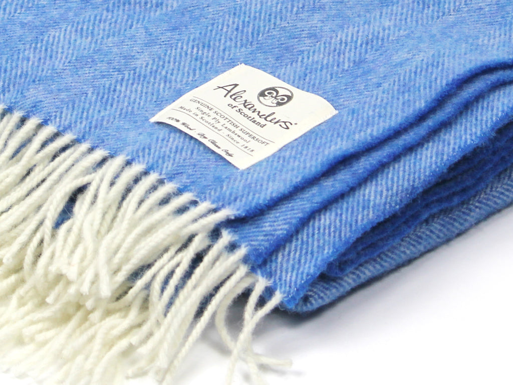 Lambswool Herringbone Blanket - Fresh Surf