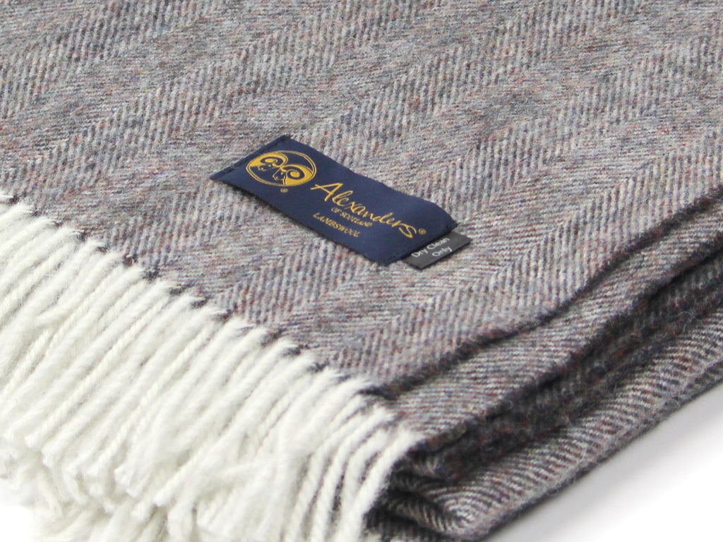 Lambswool Herringbone Blanket - Midnight